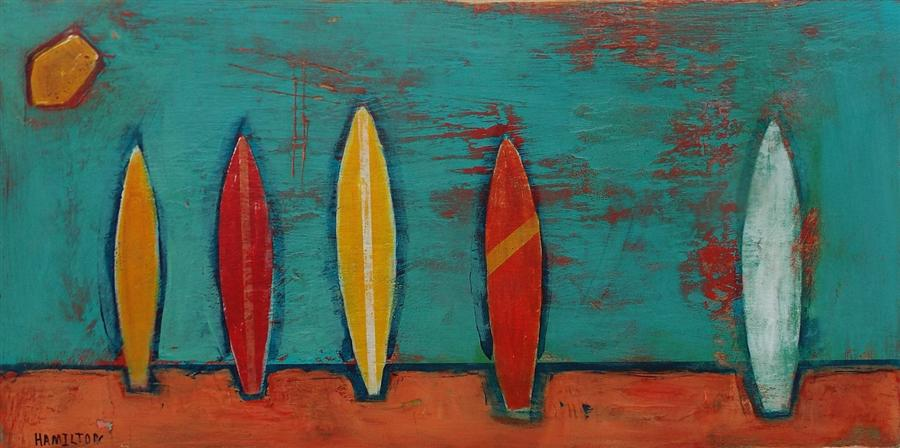 Original art for sale at UGallery.com | Late Summer Surfboards by RICK HAMILTON | $725 | Acrylic painting | 12' h x 24' w | http://www.ugallery.com/acrylic-painting-late-summer-surfboards