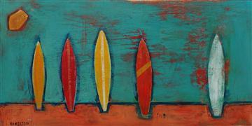 Sports art,Representational art,Primitive art,Modern  art,acrylic painting,Late Summer Surfboards