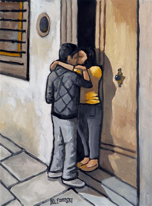 Original art for sale at UGallery.com | Young Couple in Florence by ROBERT  HOLEWINSKI | $750 | Oil painting | 23' h x 17' w | http://www.ugallery.com/oil-painting-young-couple-in-florence