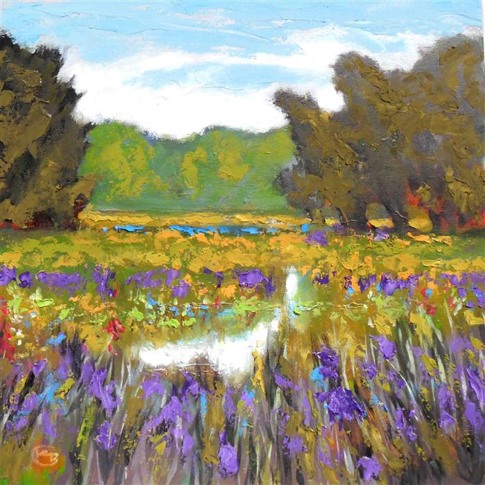 Original art for sale at UGallery.com | Iris by Creek by KIP DECKER | $1,625 | Acrylic painting | 30' h x 30' w | http://www.ugallery.com/acrylic-painting-iris-by-creek
