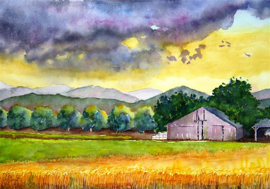 Discover Original Art by Nancy Muren | Sunset on Summer Wheat watercolor painting | Art for Sale Online at UGallery