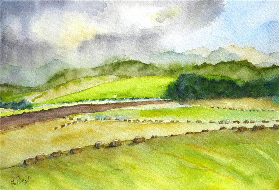 Discover Original Art by Nancy Muren | Layers of Landscape watercolor painting | Art for Sale Online at UGallery