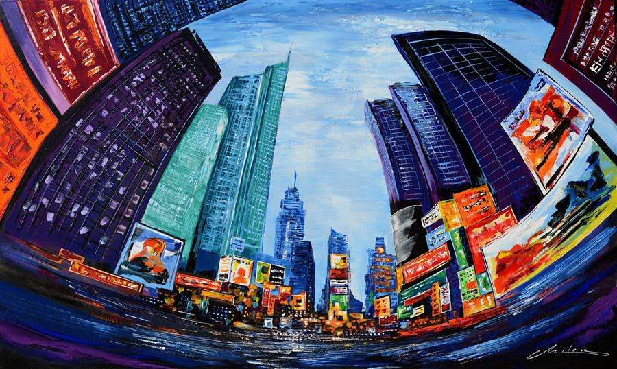 Discover Original Art by Milen Tod | Times Square acrylic painting | Art for Sale Online at UGallery