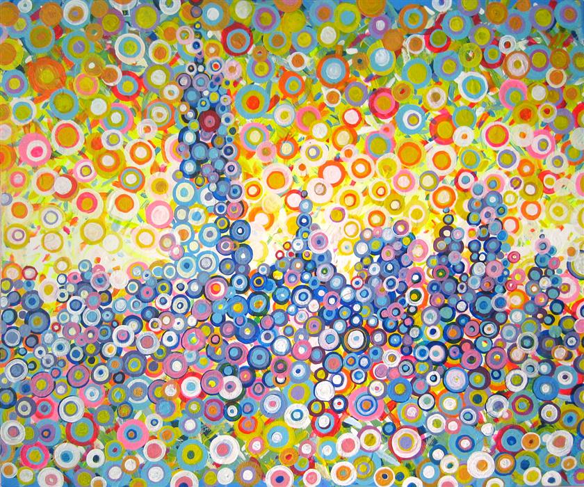 Original art for sale at UGallery.com | New York in Circles by NATASHA TAYLES | $850 | Acrylic painting | 20' h x 24' w | http://www.ugallery.com/acrylic-painting-new-york-in-circles