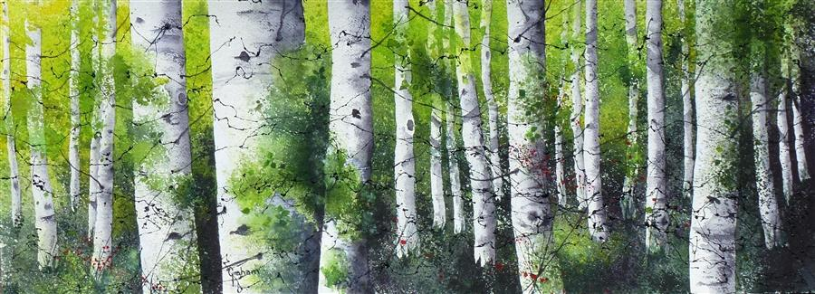 Original art for sale at UGallery.com | Summer Aspens by NANCY GRAHAM | $875 | Watercolor painting | 11' h x 30' w | http://www.ugallery.com/watercolor-painting-summer-aspens
