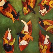 Animals art,Representational art,Modern  art,oil painting,Adrift