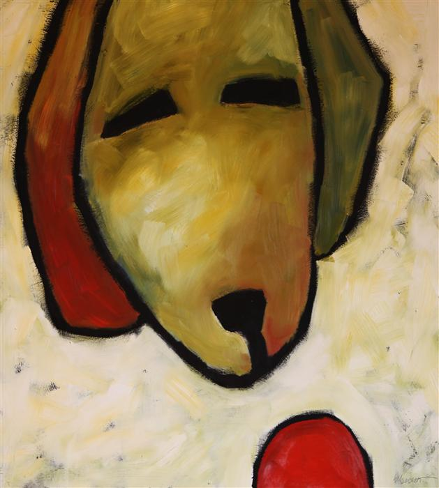 Original art for sale at UGallery.com | Dog Head with Ball by JAIME ELLSWORTH | $2,025 | Oil painting | 35' h x 31' w | http://www.ugallery.com/oil-painting-dog-head-with-ball