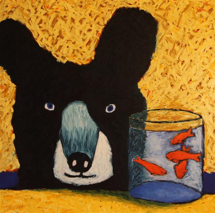 Discover Original Art by Jaime Ellsworth | Bear with Goldfish oil painting | Art for Sale Online at UGallery