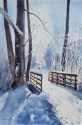 Impressionism art,Landscape art,Representational art,watercolor painting,New Snow
