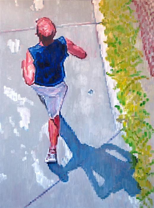 Original art for sale at UGallery.com | Runner at Los Angeles Beach by WARREN KEATING | $3,775 | Oil painting | 48' h x 36' w | http://www.ugallery.com/oil-painting-runner-at-los-angeles-beach