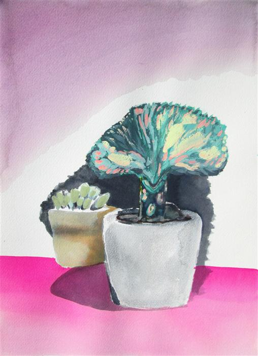 Original art for sale at UGallery.com | Succulent Summer Series: Purple Shadow by MELINDA LASZCZYNSKI | $325 | Watercolor painting | 14' h x 10' w | http://www.ugallery.com/watercolor-painting-succulent-summer-series-purple-shadow