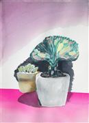 Impressionism art,Still Life art,Flora art,Representational art,watercolor painting,Succulent Summer Series: Purple Shadow