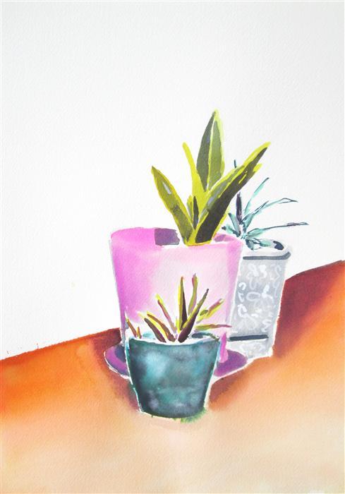 Original art for sale at UGallery.com   Succulent Summer Series: Orange Floor by MELINDA LASZCZYNSKI   $325   Watercolor painting   14' h x 10' w   http://www.ugallery.com/watercolor-painting-succulent-summer-series-orange-floor