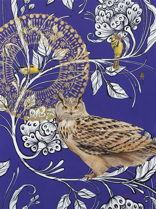 Original art for sale at UGallery.com | Eagle Owl on Purple by ASHLEY CECIL | $4,200 | Mixed media artwork | 40' h x 30' w | http://www.ugallery.com/mixed-media-artwork-eagle-owl-on-purple