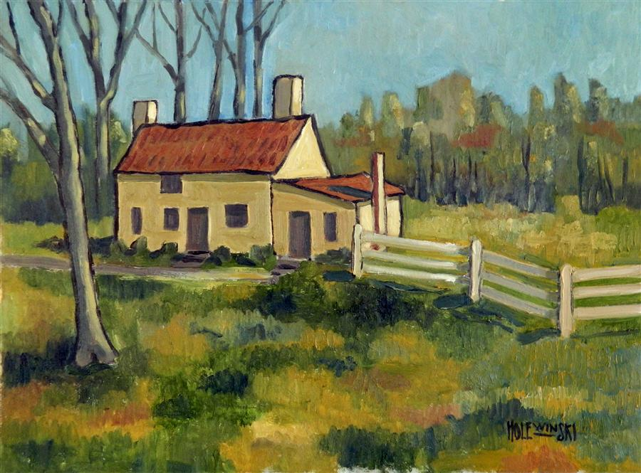 Original art for sale at UGallery.com | Country House Near Princeton by ROBERT  HOLEWINSKI | $1,025 | Oil painting | 17' h x 23' w | http://www.ugallery.com/oil-painting-country-house-near-princeton