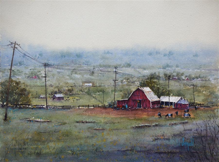 Original art for sale at UGallery.com | The Big Red Barn by JUDY MUDD | $625 | Watercolor painting | 12' h x 16' w | http://www.ugallery.com/watercolor-painting-the-big-red-barn