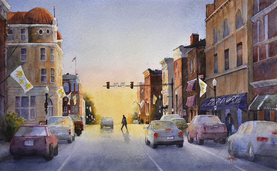 Original art for sale at UGallery.com | Morning in Town by JUDY MUDD | $975 | Watercolor painting | 14' h x 22' w | http://www.ugallery.com/watercolor-painting-morning-in-town