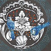 Animals art,Flora art,Realism art,Street Art art,Representational art,mixed media artwork,Blue Jays on Gray 2
