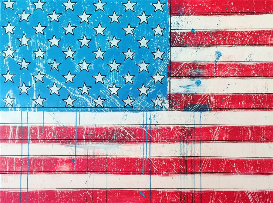 Original art for sale at UGallery.com | We're All Living in America by DAVID BARASH | $1,375 | Acrylic painting | 30' h x 40' w | http://www.ugallery.com/acrylic-painting-we-re-all-living-in-america