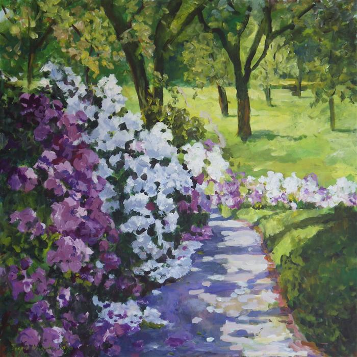 Original art for sale at UGallery.com | Purple White by INGRID DOHM | $2,975 | Acrylic painting | 36' h x 36' w | http://www.ugallery.com/acrylic-painting-purple-white