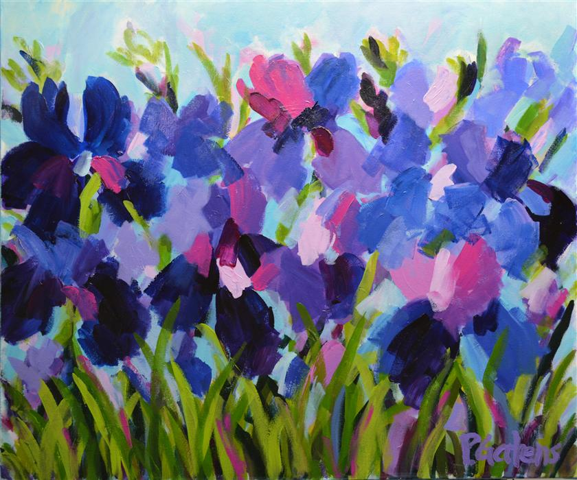 Discover Original Art by Pamela Gatens | Purple Iris Garden acrylic painting | Art for Sale Online at UGallery