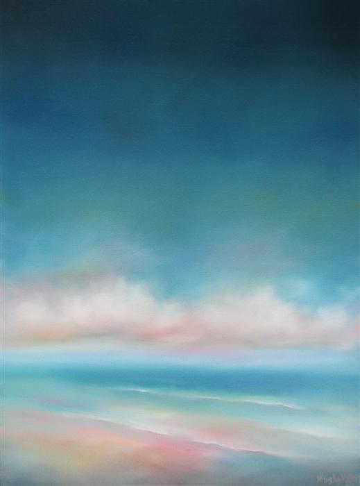 Original art for sale at UGallery.com | Ocean Clouds - Aqua Sky by NANCY HUGHES MILLER | $725 | Oil painting | 24' h x 18' w | http://www.ugallery.com/oil-painting-ocean-clouds-aqua-sky