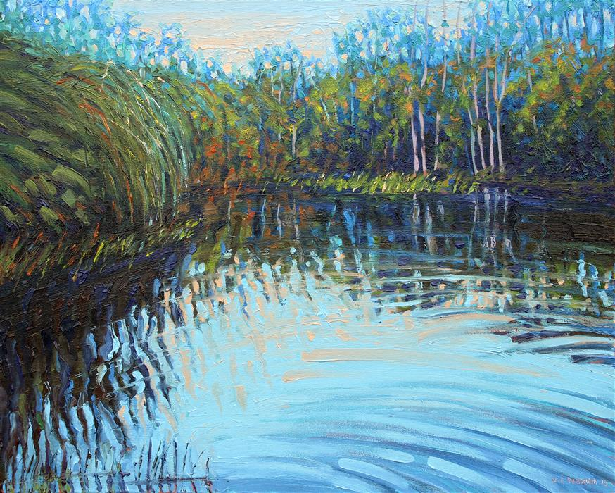 Discover Original Art by Mark Nesmith | On the Pond oil painting | Art for Sale Online at UGallery