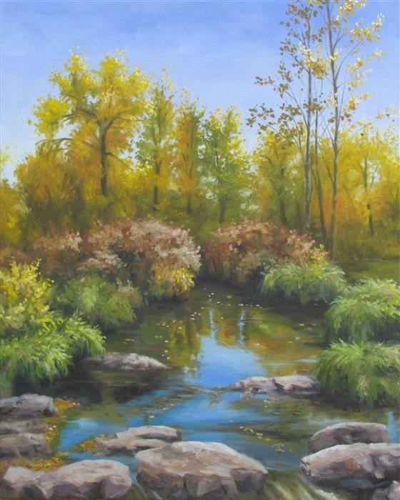 Discover Original Art by Ron Kenyon | Fall Creek oil painting | Art for Sale Online at UGallery