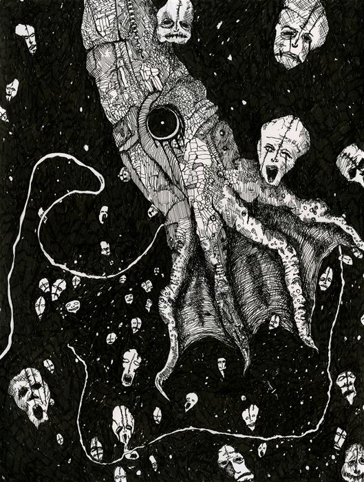 Original art for sale at UGallery.com | Nightmare Squid by ANTHONY CHRISTOPHER | $550 | Ink artwork | 12' h x 9' w | http://www.ugallery.com/ink-artwork-nightmare-squid