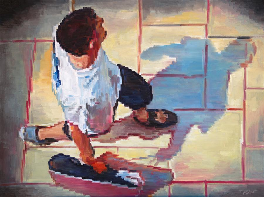 Discover Original Art by Warren Keating | Aerial View of Man Walking at the Mall Wearing T-Shirt oil painting | Art for Sale Online at UGallery