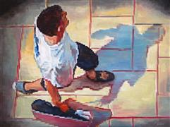 People art,Pop art,Street Art art,Representational art,oil painting,Aerial View of Man Walking at the Mall Wearing T-Shirt
