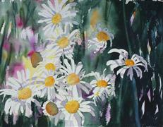 Nature art,Flora art,Representational art,watercolor painting,My Daisies