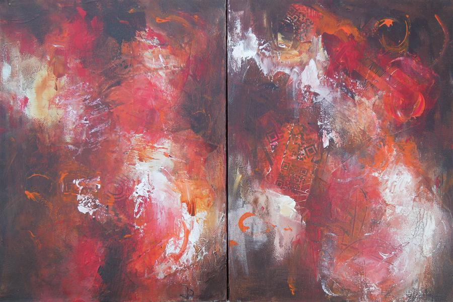 Discover Original Art by Hilma Koelman | Indian Summer (Diptych) mixed media artwork | Art for Sale Online at UGallery