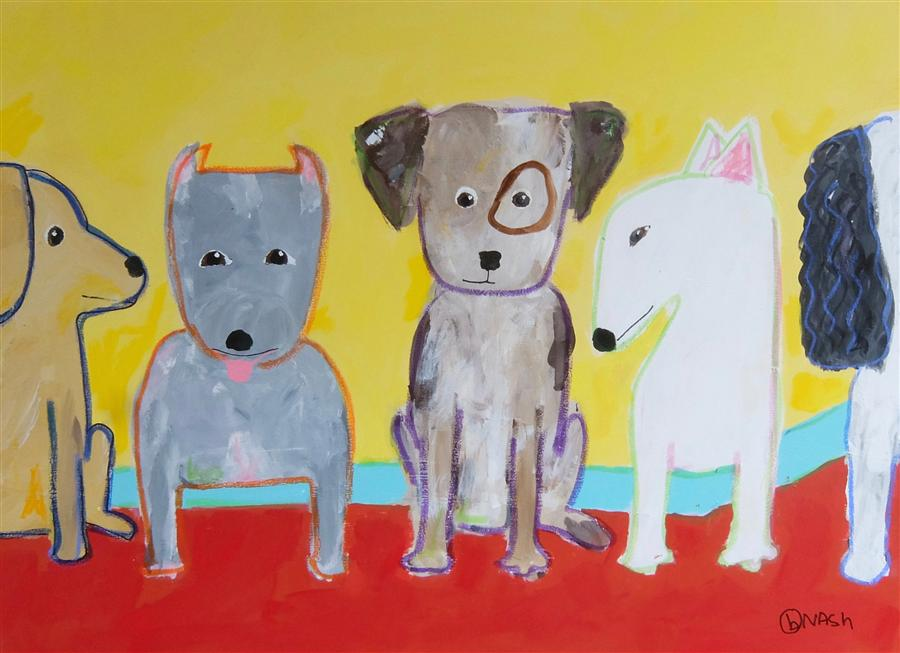 Original art for sale at UGallery.com | Dogs by BRIAN NASH | $2,075 | Acrylic painting | 36' h x 48' w | http://www.ugallery.com/acrylic-painting-dogs-40667