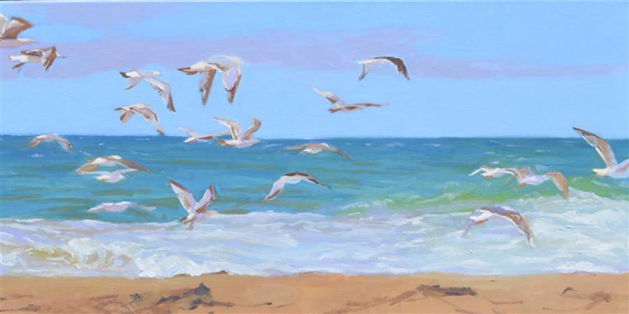 Discover Original Art by Randi Jane Davis | Gulls oil painting | Art for Sale Online at UGallery