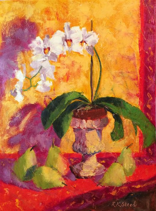 Original art for sale at UGallery.com | Provencal Pears and Orchids by ROXANNE STEED | $1,175 | Oil painting | 24' h x 18' w | http://www.ugallery.com/oil-painting-provencal-pears-and-orchids