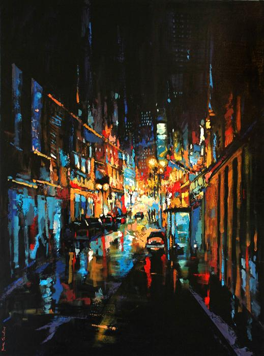 Original art for sale at UGallery.com | The City at Night 02 by YUVAK TULADHAR | $3,925 | Acrylic painting | 54' h x 40' w | http://www.ugallery.com/acrylic-painting-the-city-at-night-02