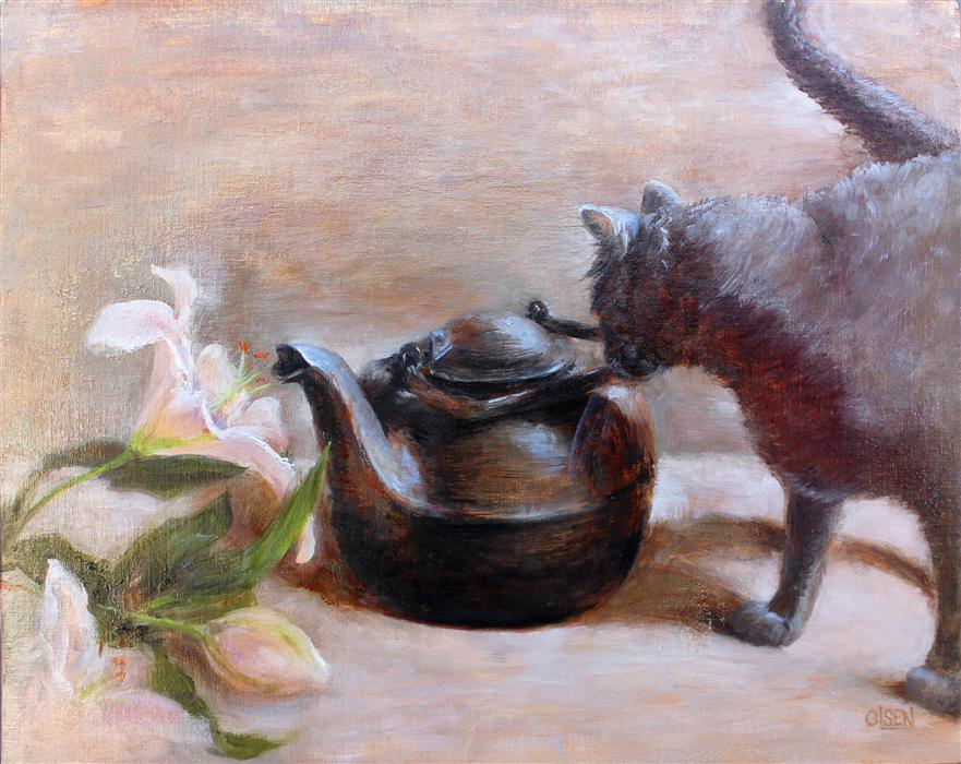 Discover Original Art by Christy Olsen | The Cat and the Kettle oil painting | Art for Sale Online at UGallery