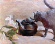 Impressionism art,Animals art,Still Life art,Representational art,oil painting,The Cat and the Kettle