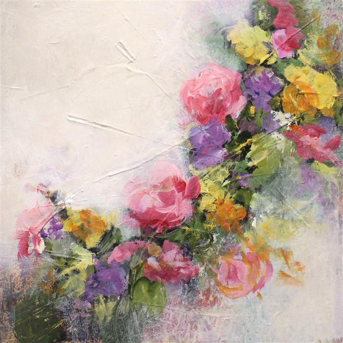 Original art for sale at UGallery.com | Floral Patchwork by KAREN HALE | $750 | Acrylic painting | 18' h x 18' w | http://www.ugallery.com/acrylic-painting-floral-patchwork