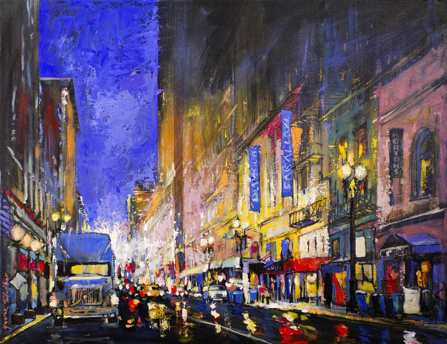 Original art for sale at UGallery.com | Post Street from Powell Street by YUVAK TULADHAR | $1,950 | Acrylic painting | 28' h x 36' w | http://www.ugallery.com/acrylic-painting-post-street-from-powell-street