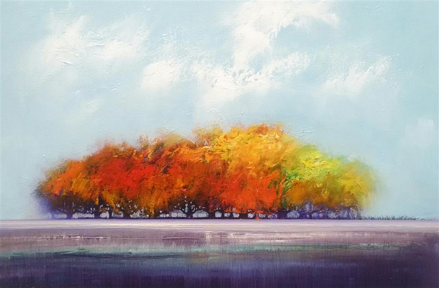 Original art for sale at UGallery.com | Maple Grove by GEORGE PEEBLES | $1,100 | Oil painting | 24' h x 36' w | http://www.ugallery.com/oil-painting-maple-grove