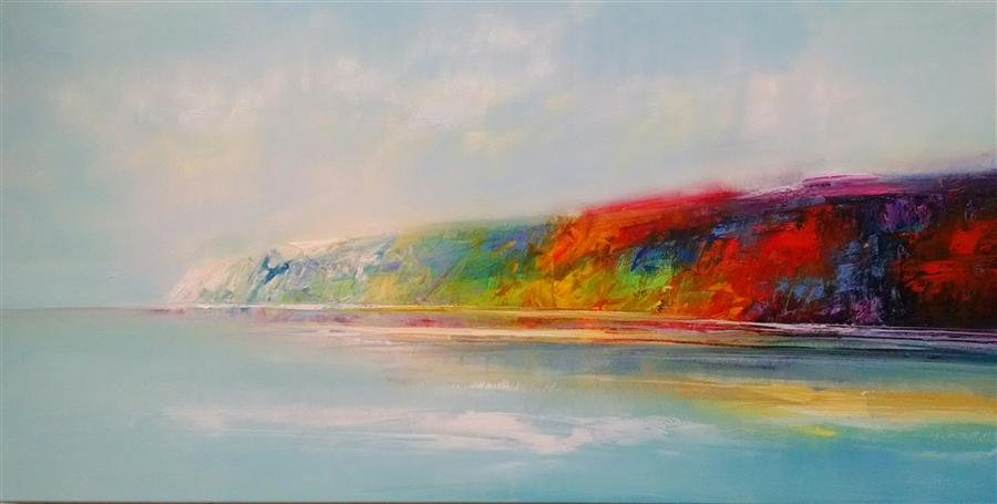 Original art for sale at UGallery.com | Distance Shoreline by GEORGE PEEBLES | $2,625 | Oil painting | 30' h x 69' w | http://www.ugallery.com/oil-painting-distance-shoreline