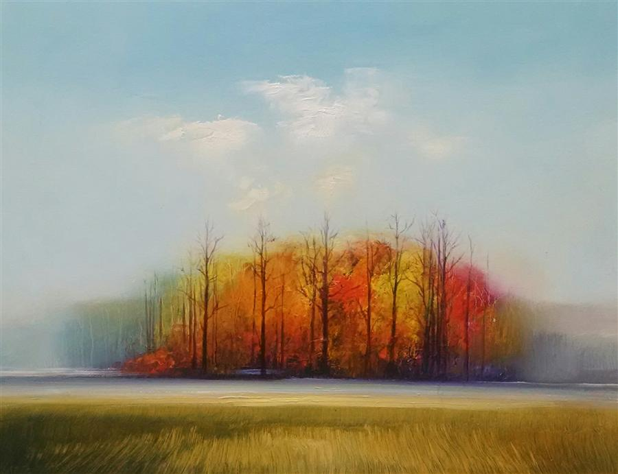 Original art for sale at UGallery.com | Tree Line by GEORGE PEEBLES | $1,425 | Oil painting | 30' h x 40' w | http://www.ugallery.com/oil-painting-tree-line-42033