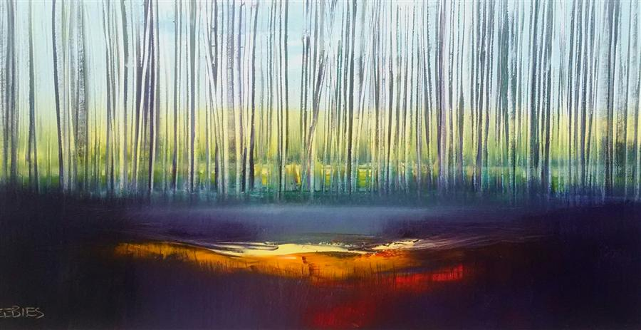 Original art for sale at UGallery.com | Into Dusk by GEORGE PEEBLES | $1,625 | Oil painting | 24' h x 48' w | http://www.ugallery.com/oil-painting-into-dusk