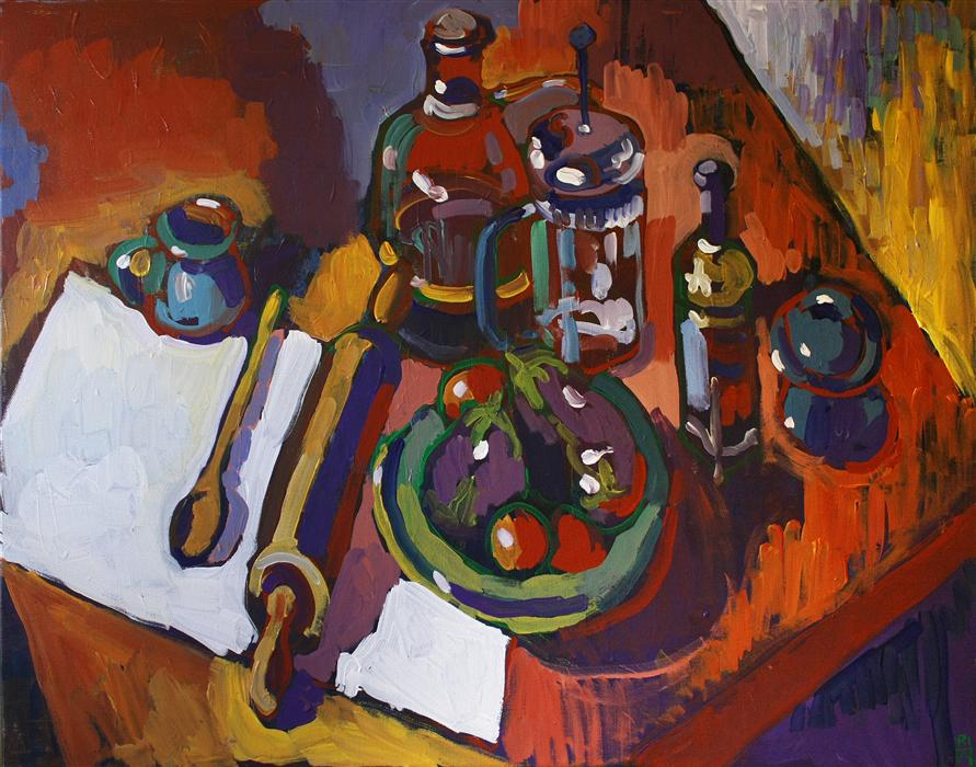 Original art for sale at UGallery.com | Still Life with Rolling Pin by ROBERT HOFHERR | $1,000 | Acrylic painting | 24' h x 30' w | http://www.ugallery.com/acrylic-painting-still-life-with-rolling-pin