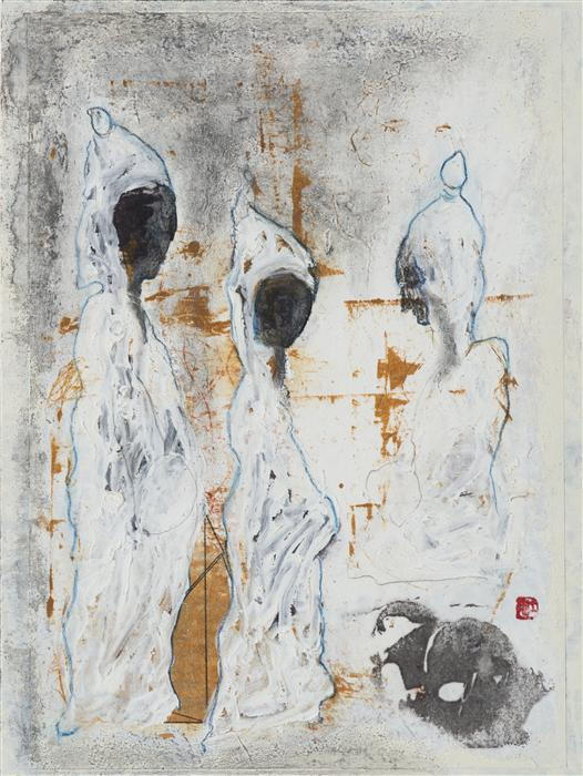 Original art for sale at UGallery.com | Child and His Guardians by DIANE ABT | $350 | Mixed media artwork | 12' h x 9' w | http://www.ugallery.com/mixed-media-artwork-child-and-his-guardians