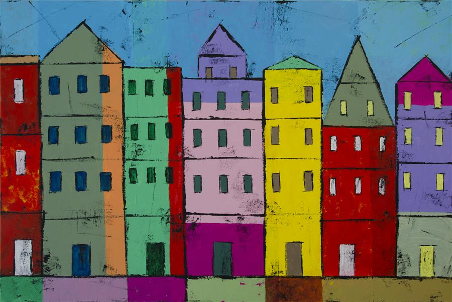 Discover Original Art by Tanya Grabkova | Colorful Houses    acrylic painting | Art for Sale Online at UGallery