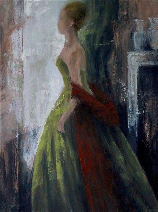 Discover Original Art by Naoko Paluszak | Green Dress and Red Shawl oil painting | Art for Sale Online at UGallery