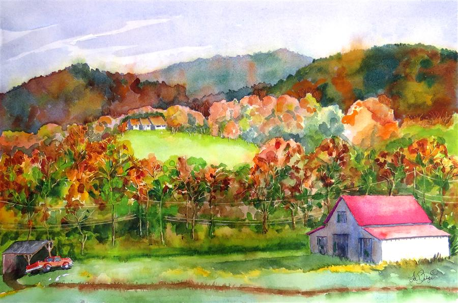 Original art for sale at UGallery.com | Tennessee Farm by NANCY MUREN | $450 | Watercolor painting | 15' h x 22' w | http://www.ugallery.com/watercolor-painting-tennessee-farm